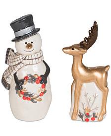 Fitz and Floyd Wintry Woods Snowman & Deer, Salt & Pepper Shakers
