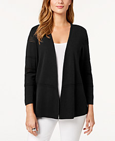 Charter Club Petite Eyelet-Trim Cardigan, Created for Macy's