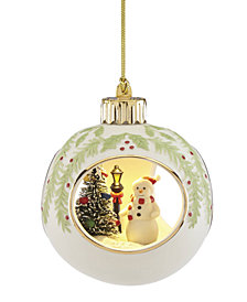 Lenox Lit Snowman Scene 3D Ball Ornament
