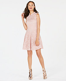 City Studios Lace Fit And Flare Dress, Created for Macy's