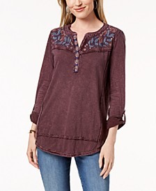 Petite Cotton Embroidered Top, Created for Macy's