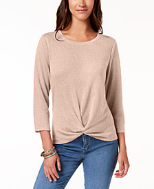 Style & Co Petite Knot-Front Top, Created for Macy's