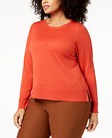 Eileen Fisher Plus Size Long-Sleeve Wool Sweater