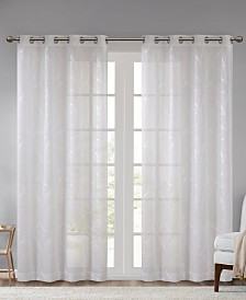 """Madison Park Reed 50"""" x 95"""" Leaf Embroidered Grommets Window Sheer"""