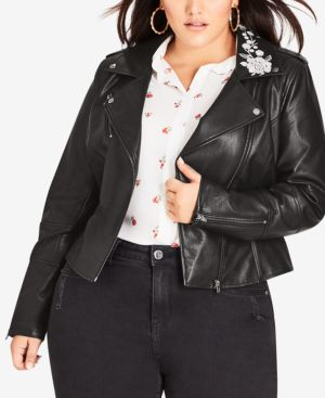 CITY CHIC Trendy Plus Size Embroidered Faux-Leather Biker Jacket in Black
