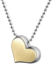 "Alex Woo Fusion Heart 16"" Pendant Necklace in Sterling Silver & 18k Gold"