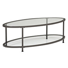 "Camber 48"" Oval Glass Coffee Table"
