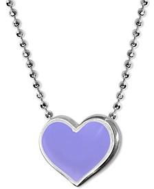 "Lavender Enamel Vegas Heart 16"" Pendant Necklace in Sterling Silver"