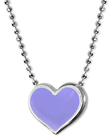 "Alex Woo Lavender Enamel Vegas Heart 16"" Pendant Necklace in Sterling Silver"