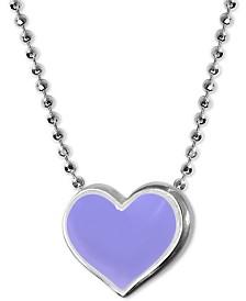 """Alex Woo Lavender Enamel Vegas Heart 16"""" Pendant Necklace in Sterling Silver"""