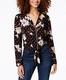 Gypsies & Moondust Juniors' Printed Tie-Waist Blouse