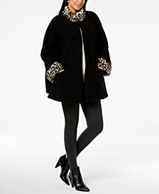 Cejon Leopard-Print Faux-Fur & Fleece Cape