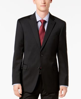 Men's Modern-Fit THFlex Stretch Black Pinstripe Suit Jacket