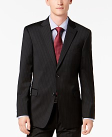 Tommy Hilfiger Men's Modern-Fit THFlex Stretch Black Pinstripe Suit Jacket