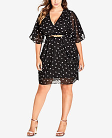 City Chic Trendy Plus Size Dobby Printed Belted Dress
