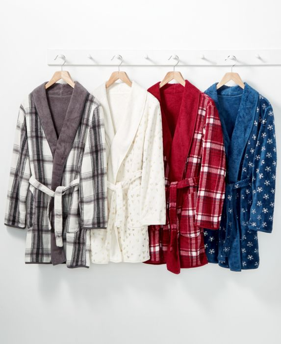 CLOSEOUT! Martha Stewart Reversible Plush Robe , Red, Size: ONE SIZE