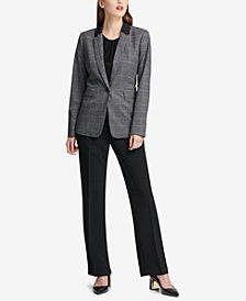 DKNY Plaid One-Button Blazer & Bootcut Pants, Created for Macy's