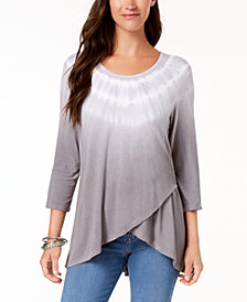 Style & Co Tie-Dyed Tulip-Hem Top, Created for Macy's
