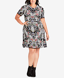 City Chic Trendy Plus Size Lace-Trim Dress