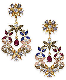 I.N.C. Gold-Tone Multi-Stone Drop Earrings, Created for Macy's