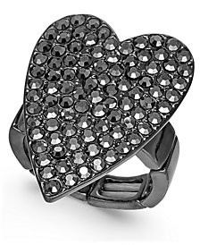 Thalia Sodi Hematite-Tone Crystal Heart Stretch Ring, Created for Macy's