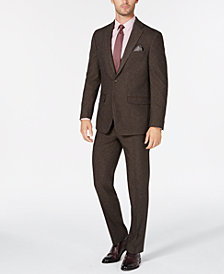 Sean John Men's Slim-Fit Stretch Brown Herringbone Suit Separates