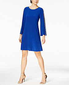 MSK Petite Embellished Bell-Sleeve Shift Dress