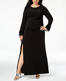 Calvin Klein Plus Size Ruched Feather-Trim Gown