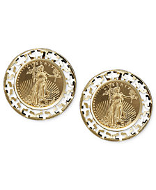 14k Gold Earrings, Coin Leverback Earrings