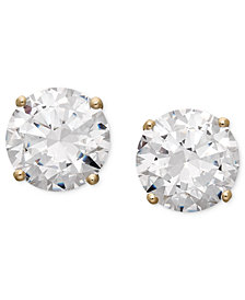 Arabella 14k Gold Earrings, Swarovski Zirconia Round Stud Earrings (6-5/8 ct. t.w.)