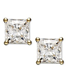 14k Gold Earrings, Swarovski Zirconia Princess-Cut Stud Earrings (3-3/4-9-3/4 ct. t.w.)