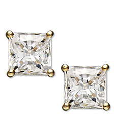 Arabella 14k Gold Earrings, Swarovski Zirconia Princess-Cut Stud Earrings (3-3/4-9-3/4 ct. t.w.)