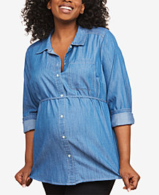 Motherhood Maternity Plus Size Chambray Tunic