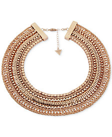 "GUESS Gold-Tone Multi-Chain Collar Necklace, 16"" + 2"" extender"