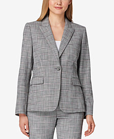 Tahari ASL Textured Plaid One-Button Blazer