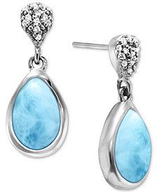 Marahlago Larimar & White Sapphire (1/6 ct. t.w.) Drop Earrings in Sterling Silver