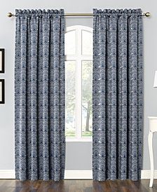 Sun Zero Dmitri Damask Print Room Darkening Rod Pocket Curtain Panel Collection