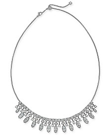 """Danori Silver-Tone Stone & Crystal Marquise Statement Necklace, 15"""" + 3"""" extender, Created for Macy's"""