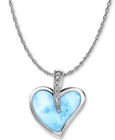 "Marahlago Larimar & White Sapphire Accent Heart 21"" Pendant Necklace in Sterling Silver"