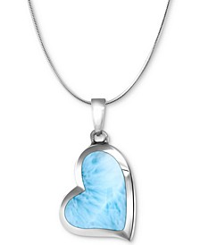 """Larimar Heart 21"""" Necklace in Sterling Silver"""
