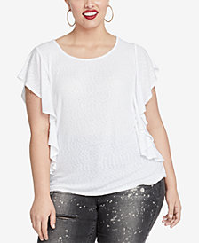 RACHEL Rachel Roy Trendy Plus Size Greta Ruffled Top