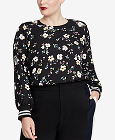 RACHEL Rachel Roy Trendy Plus Size Knit-Cuff Blouse