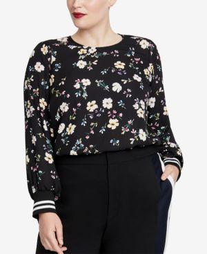 Dean Floral-Print Striped-Cuff Top, Plus Size, Black Combo