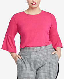 RACHEL Rachel Roy Trendy Plus Size Draped Top, Created for Macy's