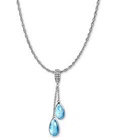"Marahlago Larimar & White Sapphire (1/10 ct. t.w.) Dangle 21"" Pendant Necklace in Sterling Silver"
