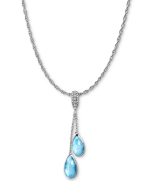 "Marahlago Larimar & White Sapphire (1/10 ct. t.w.) Dangle 21"" Pendant Necklace in Sterling Silver"