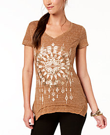 Style & Co V-Neck Metallic-Graphic T-Shirt, Created for Macy's