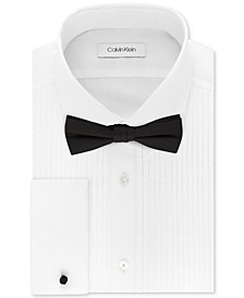 X Men's Extra-Slim Fit Pleated Formal White French Cuff Tuxedo Dress Shirt & Pre-Tied Solid Bow Tie Set