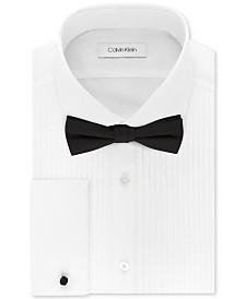 Calvin Klein X Men's Extra-Slim Fit Pleated Formal White French Cuff Tuxedo Dress Shirt & Pre-Tied Solid Bow Tie Set