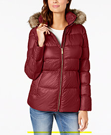 MICHAEL Michael Kors Faux-Fur-Trim Hooded Puffer Coat